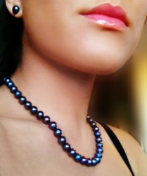 freshwater black pearl necklace 9-10mm