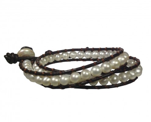 pearl and leather wrap bracelet
