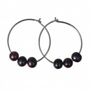 Circle of Life Black Pearl Earrings