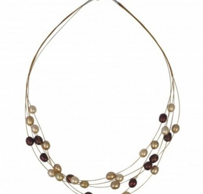 Floating Pearl Necklace Brown