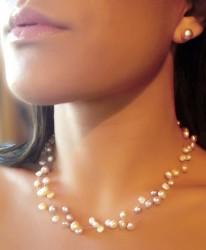 Floating pearl necklace, pink, lilac & cream