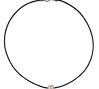white pearl & leather necklace