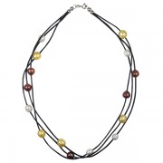 leather and gold pearls necklace