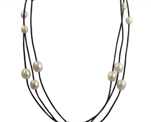 18 inch leather and pearl necklace