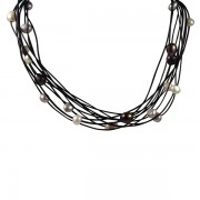 leather and black pearl necklace