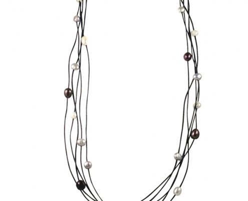 32 inch leather & black pearl necklace