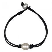 black leather & single pearl bracelet