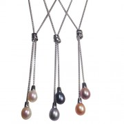 Double drop freshwater cultured pearl necklace