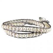 grey leather wrap bracelet