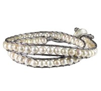 grey leather wrap bracelet