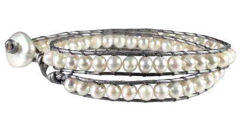 grey leather and pearl wrap bracelet