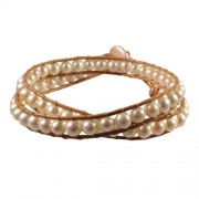 tan leather and pearl wrap bracelet