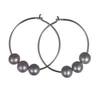 silver freshwater pearl hoop earrings