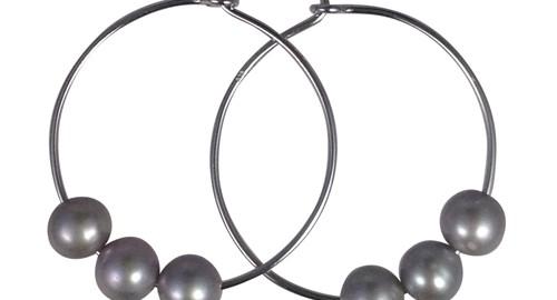 silver freshwater pearl hoop earrings
