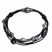 multi strand leather & pearls bracelet