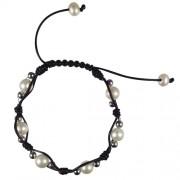 leather and pearl shambala bracelet