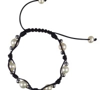 leather and pearl shambala bracelet