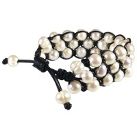 leather, pearl, shambala, bracelet