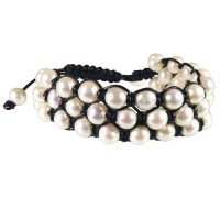 pearl, leather, shambala, bracelet