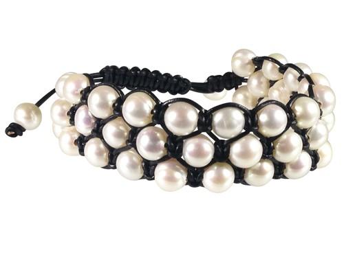 pearl, leather, shambala, bracelet